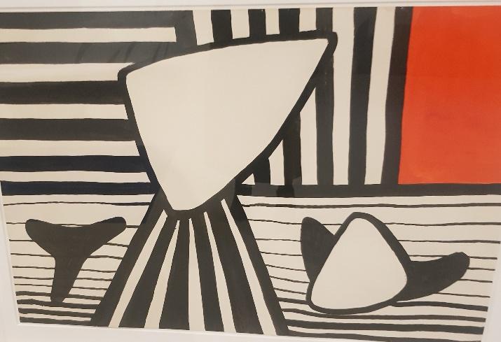 """האמן אלכסנדר קאלדר בתערוכה """"שמש גדולה צהובה"""" מוזיאון תל אביב"""